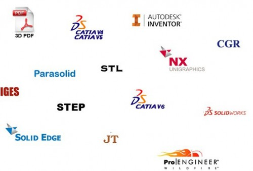 Supported formats: Catia V5, Siemens NX, STEP, JT